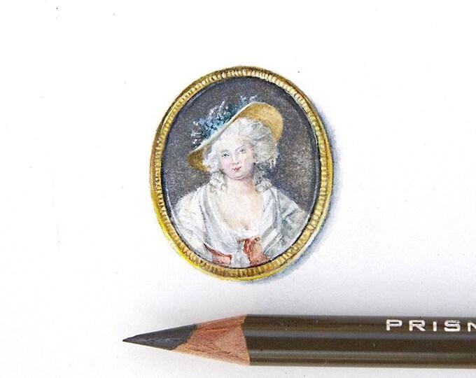 LAST ONE Print of Miniature painting of Marie Antoinette. tiny painting Marie Antoinette art 5 x 5