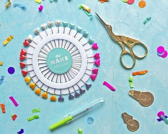 Sewing kit- scissors- stock scissors- pins- rainbow- needle threaders- haberdashery- sewing- heart pin