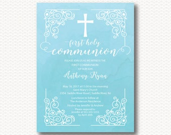 Vintage Communion Invitation, First Communion, Invitation, Blue, Watercolor, Cross, Boys 1st Communion, Communion, Digital, Printable,