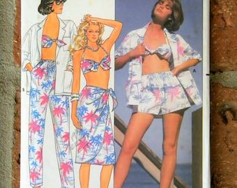 Vintage Butterick Pattern 3306 misses shirt, skirt, pants, shorts and bra