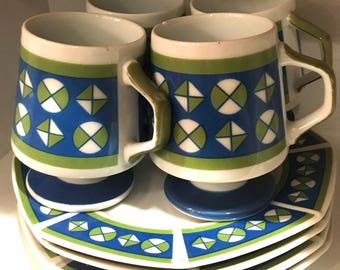 Set of 4 Mid-Century Cups and Dessert Plates