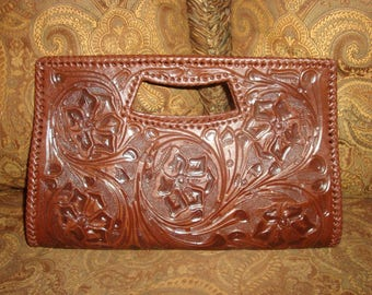 FINAL CLEARANCE Dark Brown Tooled Leather Alexandro Yeo Handled Clutch