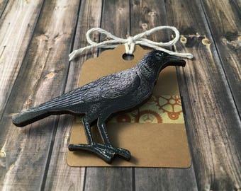 Large Wooden Black Bird Pin - Raven Lapel Pin - Wood Crow Pin