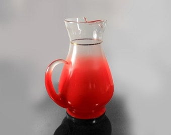 2 Quart Pitcher, Blendo, West Virginia Glass Specialty, Blendo Red,  Pastel Glassware, Frosted Glassware