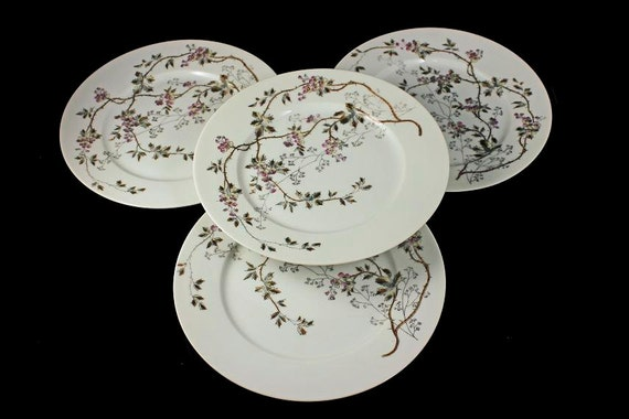 Antique Salad Plates, B & D Limoges, Bawo and Dotter, Set of 4, Hard To Find, Floral Pattern