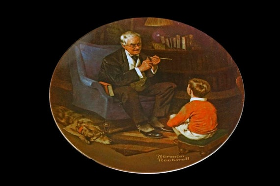 1982 Knowles Collector Plate, Norman Rockwell, The Tycoon, Limited Edition,  Numbered Plate, Wall Decor, Decorative Plate