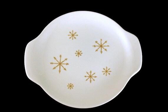 Handled Tray, Royal China (USA), Crystal Pattern, Gold Star Design, White and Gold,  Bon Bon Tray