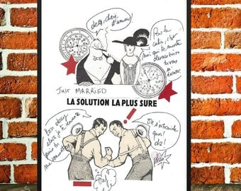 Original collage, poster paper and art collections, retro poster, solidarity, humour, couple, boxers, pasting to text, 'Solutions'