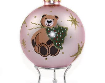Pink Handpainted Glass Christmas Bear Bauble