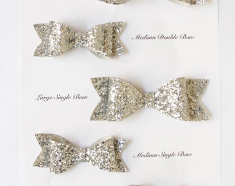 Double and Single Silver Glitter Hair Bows