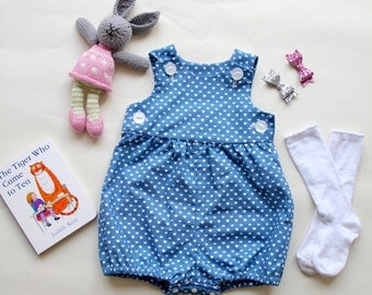 Baby Romper - Blue with Hearts and Crowns