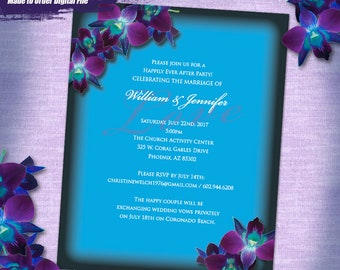 JNerone Custom Purple Orchid Wedding Invitation Digital, Custom Size Printable Wedding Invitation, Custom Purple Orchid Invitation Printable