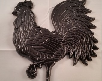 Black Strutting Rooster Wallhanging