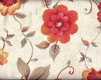 Orange Floral Tan Curtain Valance