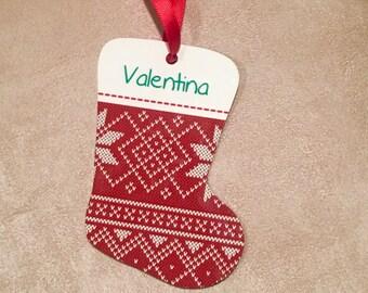Personalized Christmas Stocking Shaped Aluminum Ornament