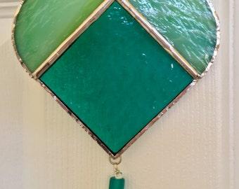 I Heart You - Teal Green Suncatcher