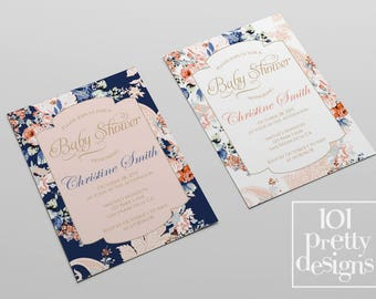 Floral Baby shower party invitation floral printable baby shower invitation design pink navy roses baby shower digital design invitation