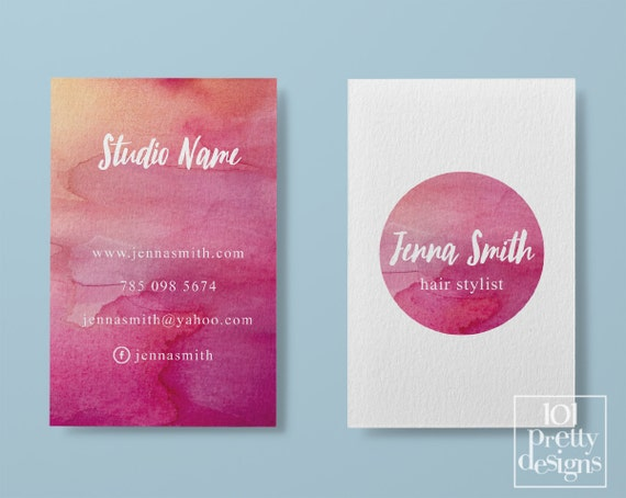 Watercolor business card template pastel printable business card il570xn colourmoves