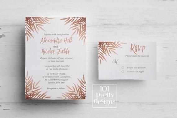 Rose gold wedding invitation printable wedding invitation design il570xn stopboris Image collections