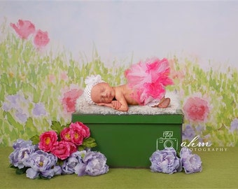 Digital Newborn Backdrop Flowers on a green Garden Box. One of a kind Prop!