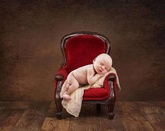 Digital Newborn Backdrop Fancy Chair on Brown. One of a kind prop!
