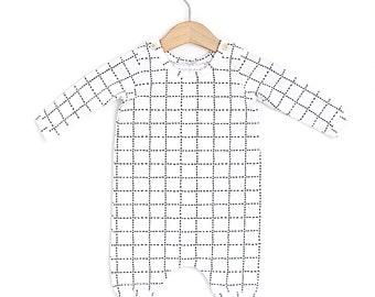 Grid Organic Cotton Baby Long Sleeve Romper