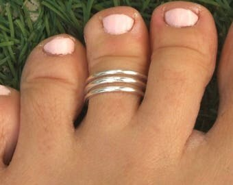 Silver Toe Ring, Silver Knuckle Ring, Silver Adjustable Ring, Three Lines Ring, Triple Lines Ring, Triple Band Ring, Silver Three Bands Ring