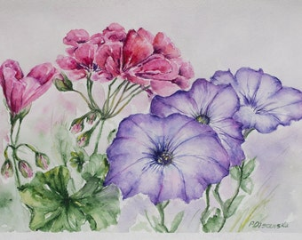 floral painting, geranium painting, Pink flower painting, Still Life, Watercolor purple flowers, Original Watercolor, gifts for mom, art
