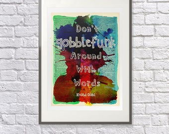 Roald Dahl BFG Quote 'Gobblefunk' Vintage Upcycled Dictionary Art: Childrens Nursery Print, Bedroom Art - Watercolour - Literary Gift