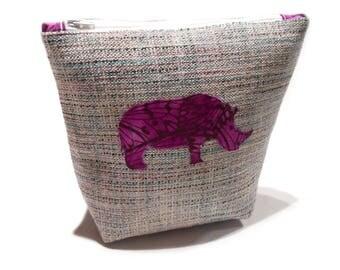 Applique Cosmetic Bag, Rhino Applique Makeup Bag, Rhino Pencil Pouch, Rhino Knitting Bag