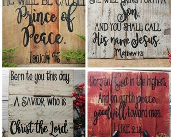 Bible verse pallet wall decor, rustic bible verse, Christmas bible verse, Christian home decor, Christian art, bible verse, Christmas decor