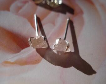 Raw Pink Rose Quartz earrings - Rough Raw Gemstone Earrings - Sterling Silver in prongs setting E141