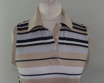 Vintage polo shirt top vest 90s sleeveless striped navy taupe sleeveless top by St Michael size small medium