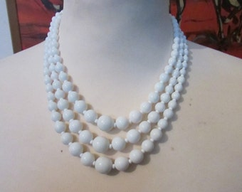 1950s white milk glass triple strand graduated bead necklace