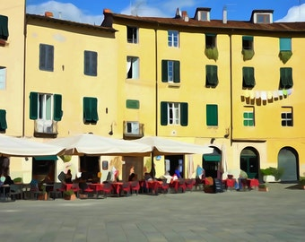 Watercolour Fine art print 'Lucca at Lunchtime' - Lucca Italy Travel Photography Print - Yellow wall art - Travel print