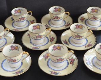 Antique LIMOGES Porcelain Cup Saucer Set C. Ahrenfeldt Demitasse Set French Porcelain 18 Pc Tea Service