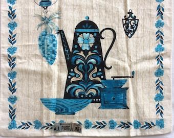 Parisian Prints coffee pot vintage tea towel with paper label. Unused.