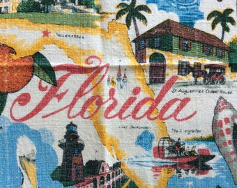 Florida souvenir vintage tea towel from Kay Dee Handprints