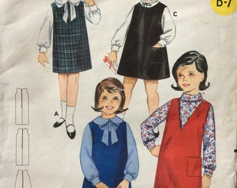 Butterick 3235 vintage 1960's girls jumper sewing pattern size 4 or size 6
