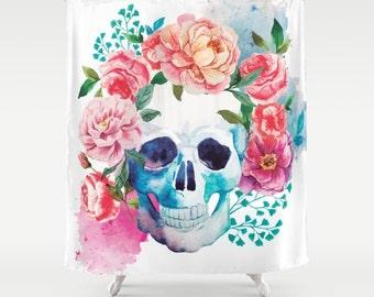 Skull Shower Curtain Floral Skull Bathroom Decor Sugar Skull Pink Blue Floral Shower Curtain Home Decor