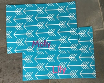Personalized Turquoise Arrows  Pet Placemat || Food + Water Bowl Dog Mat || Custom Puppy Gift by Three Spoiled Dogs