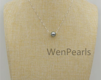 12mm Gray Tahitian Pearl necklace,  925 silver chain,Faith Jewelry, Floating Tahitian Pearl Necklace,NPH1-074