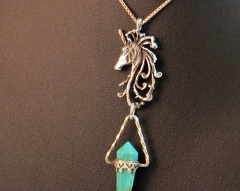 Vintage Sterling Silver 925 Unicorn Pendant Chain Necklace Turquoise NICE