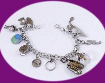 Charm Bracelet  Silver tone  Bracelet Chunky Bracelet Vintage Jewelry Vintage Bracelet