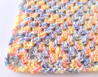 Pastels Baby Blanket, Crochet Baby Blanket, Baby Afghan, Granny Square, Chunky Baby Blanket, Gender Neutral, Ready to ship, Photo Prop, Gift