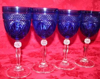 Cobalt Sapphire Blue Goblets (4) by Cristal D'Arques Durand