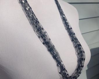 Black Scarf Necklace, White Necklace, Neckwear, Trellis Yarn Necklace, White Fiber Necklace, Under 15 gifts, Mom Gift, Boho Necklace