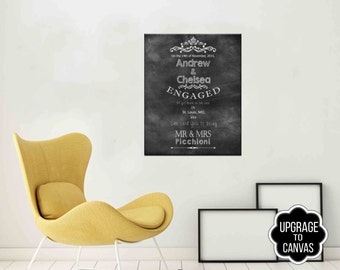 Canvas Personalized Wedding Gift as a Gallery Wrapped Canvas Art Engagement gift as a Gallery Wrapped Canvas Art Anniversary Gift