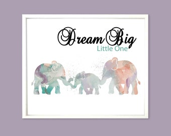 Elephant Nursery Print Pastel Nursery Decor Elephant Kids Room Decor