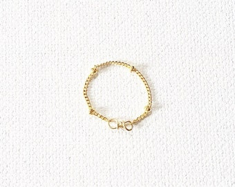 The Sphere Chain Ring, 14k gold chain ring